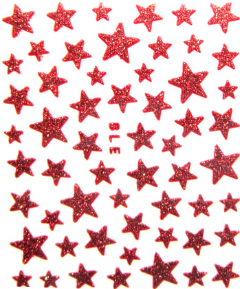 Selbstkelebende Sticker Sterne rot BLE