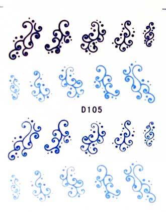 Wasserlösliche Sticker Ornamente D-105 blau