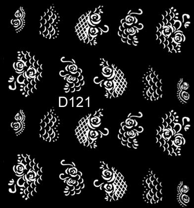 Wasserlösliche Sticker Blumen D-121 weiss
