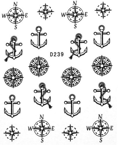 Wasserlösliche Sticker Anker D-239 schwarz