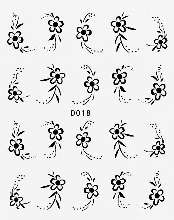 Wasserlösliche Sticker Blumen D-018
