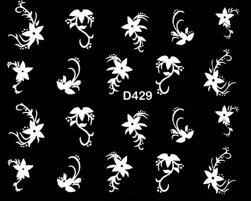 Wasserlösliche Sticker Blumen D-429 weiss