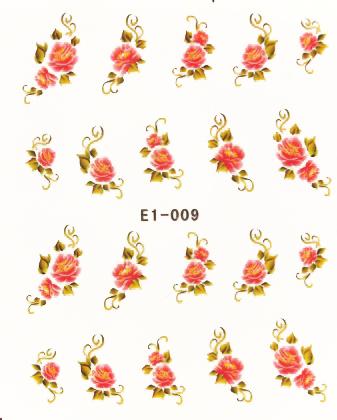 Wasserlösliche Sticker Blumen E1-009
