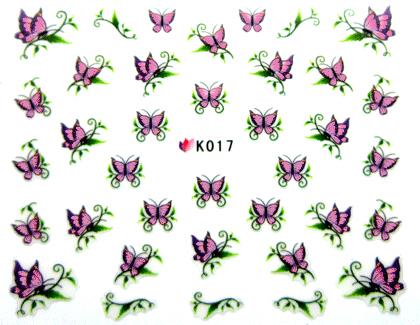 Selbstklebende Sticker Schmetterlinge K-017 rosa