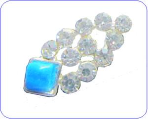 Overlay Ornament Silber türkis oval