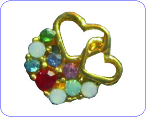Overlay Ornament goldene Herzen mit farbigen Strass