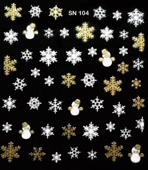 Sticker Schneeflocken SN-104 weiss und gold