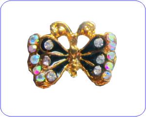 Overlay Schmetterling Gold schwarz mit bunten Strass
