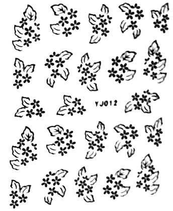 Selbstklebende Sticker Blüten YJ-012 schwarz