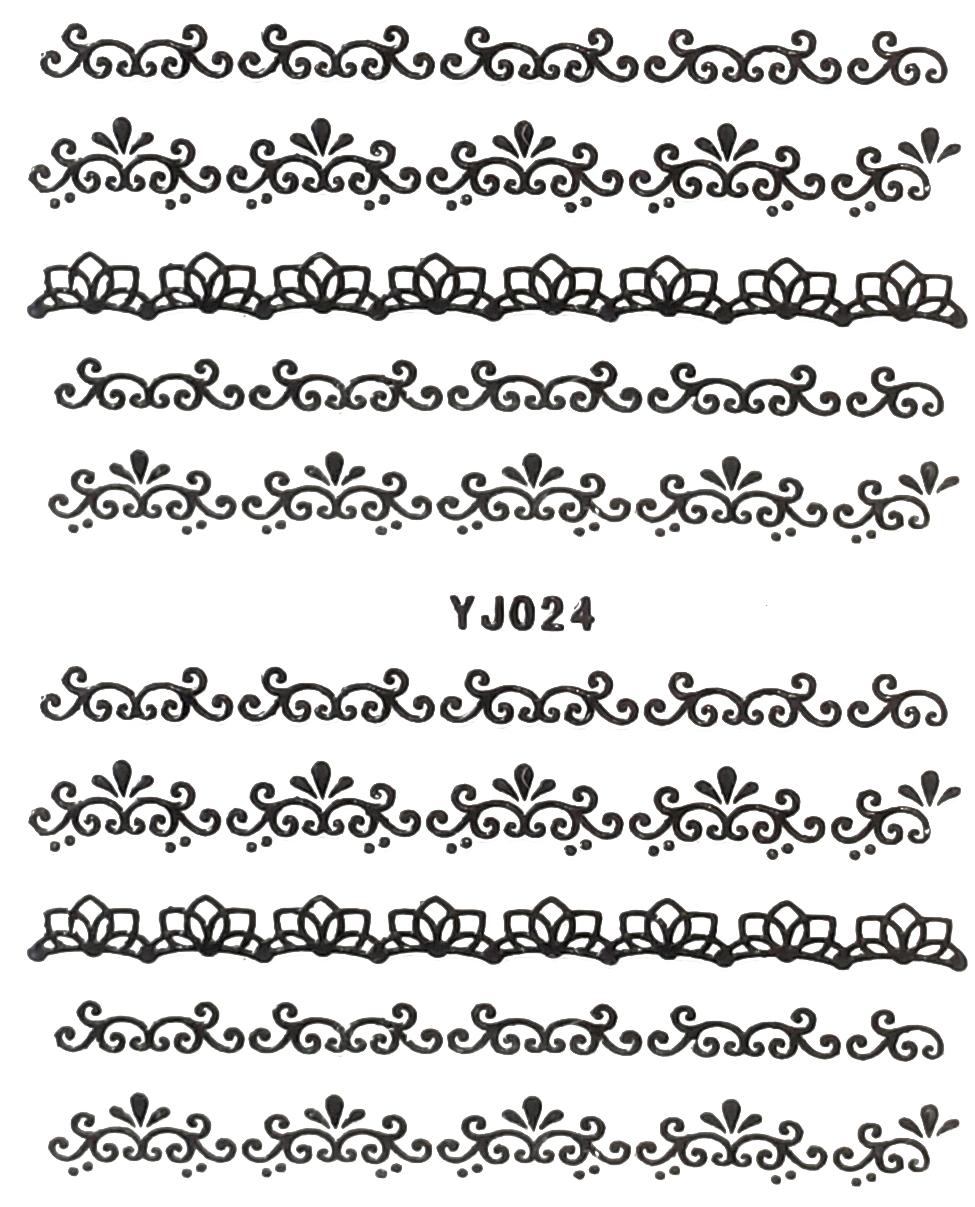 Selbstklebende Sticker Spitzen YJ-024 schwarz