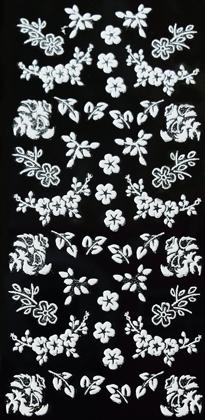 Sticker weiße Blumenranken und Blätter mit Glitzer