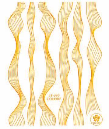 Sticker Lace gold metal strips Wave line