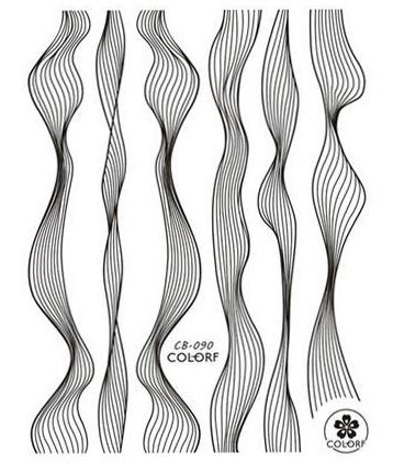 Sticker Lace schwarz metal strips Wave line
