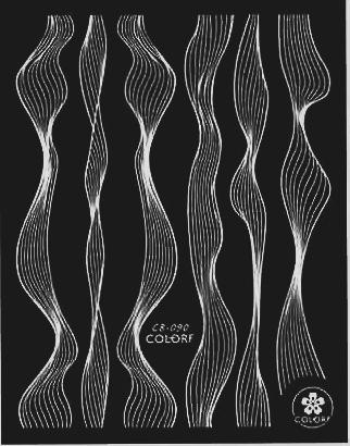 Sticker Lace weiss metal strips Wave line