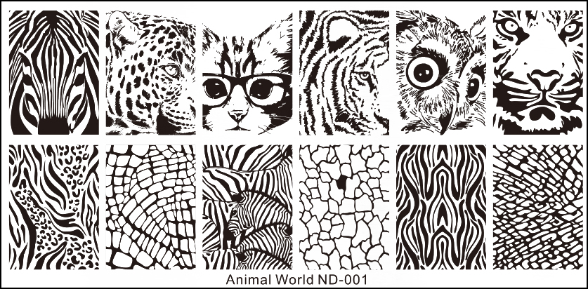 Stamping Schablone Animal World ND-001
