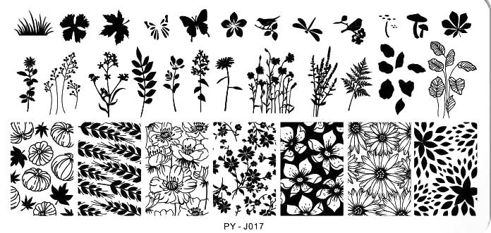 Stamping Schablone PY-J017 Blumen