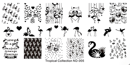 Stamping Schablone Tropical Collection ND-005 Flamingos