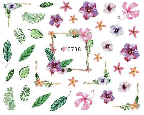 Sticker Blumen Blätter E-738 Frühling