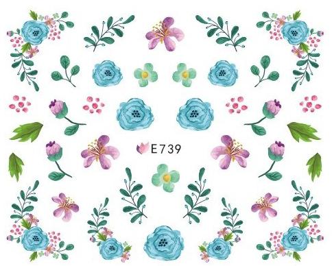 Sticker Blumen Blätter E-739 Frühling