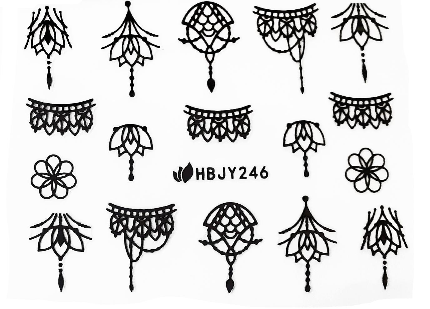 Sticker Ornamente HBJY-246 Mandalas schwarz