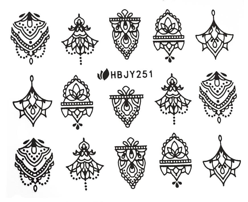 Sticker Ornamente HBJY-251 Mandalas schwarz