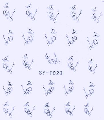 Wasserlösliche Sticker Blumen SY-T023 silber