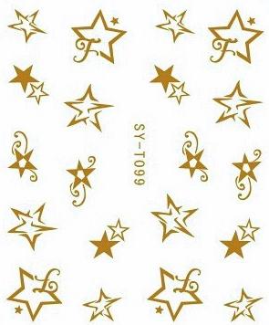 Wasserlösliche Sticker Sterne SY-T099 gold