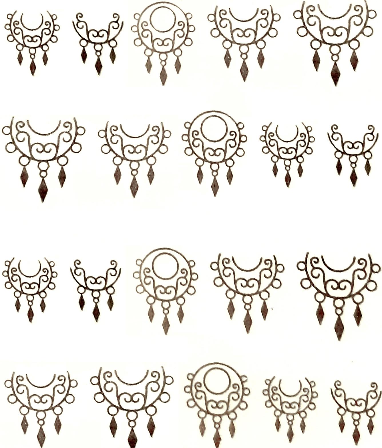 Wasserlösliche Sticker Ornamente Y-073 silber