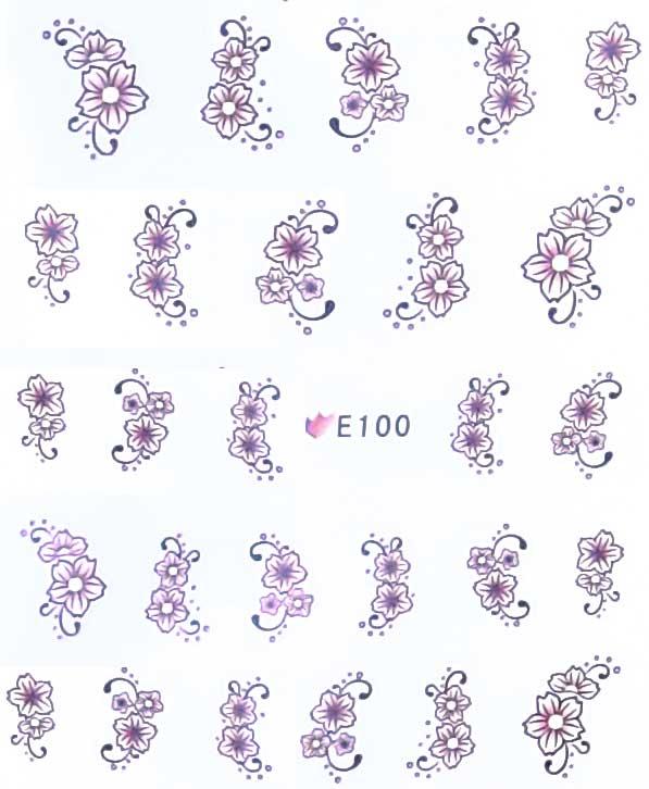 Nagelsticker Blumen pastell E-100