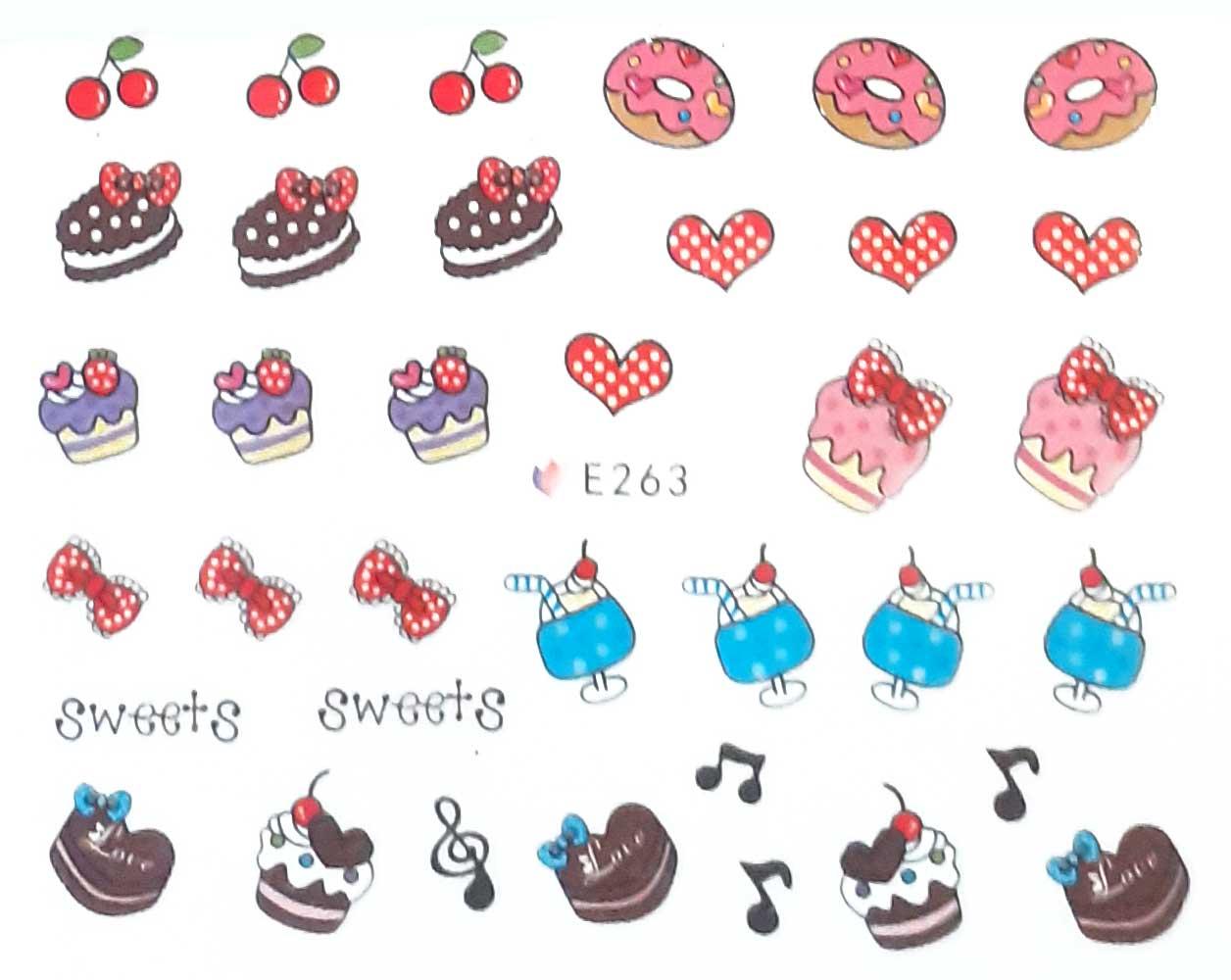Nagelsticker cupcake farbig E-263 Nagelaufkleber, Nail Tattoo, Nail Sticker