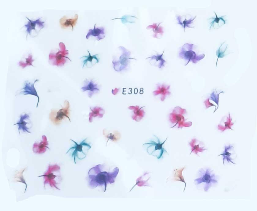 Nagelsticker Blumen pastell E-308 Nagelaufkleber, Nail Tattoo, Nail Sticker