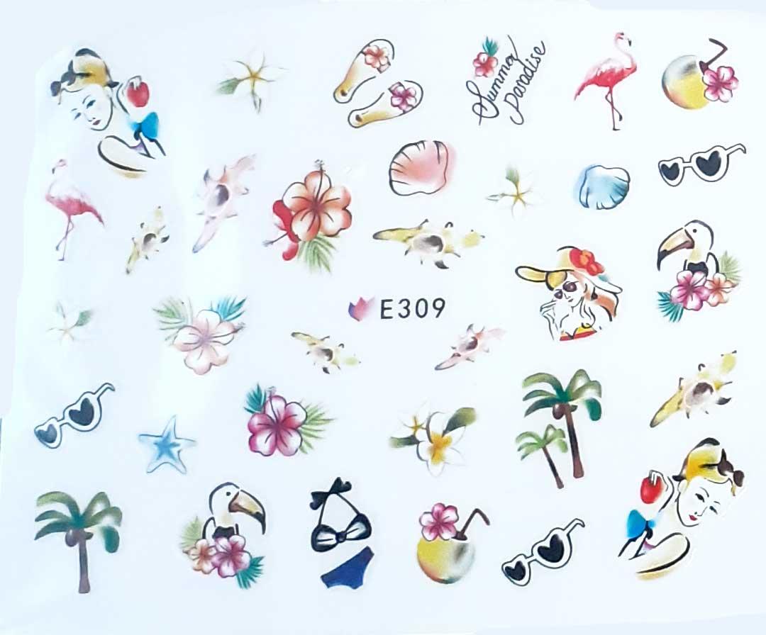 Nagelsticker Strand pastell E-309 Nagelaufkleber, Nail Tattoo, Nail Sticker