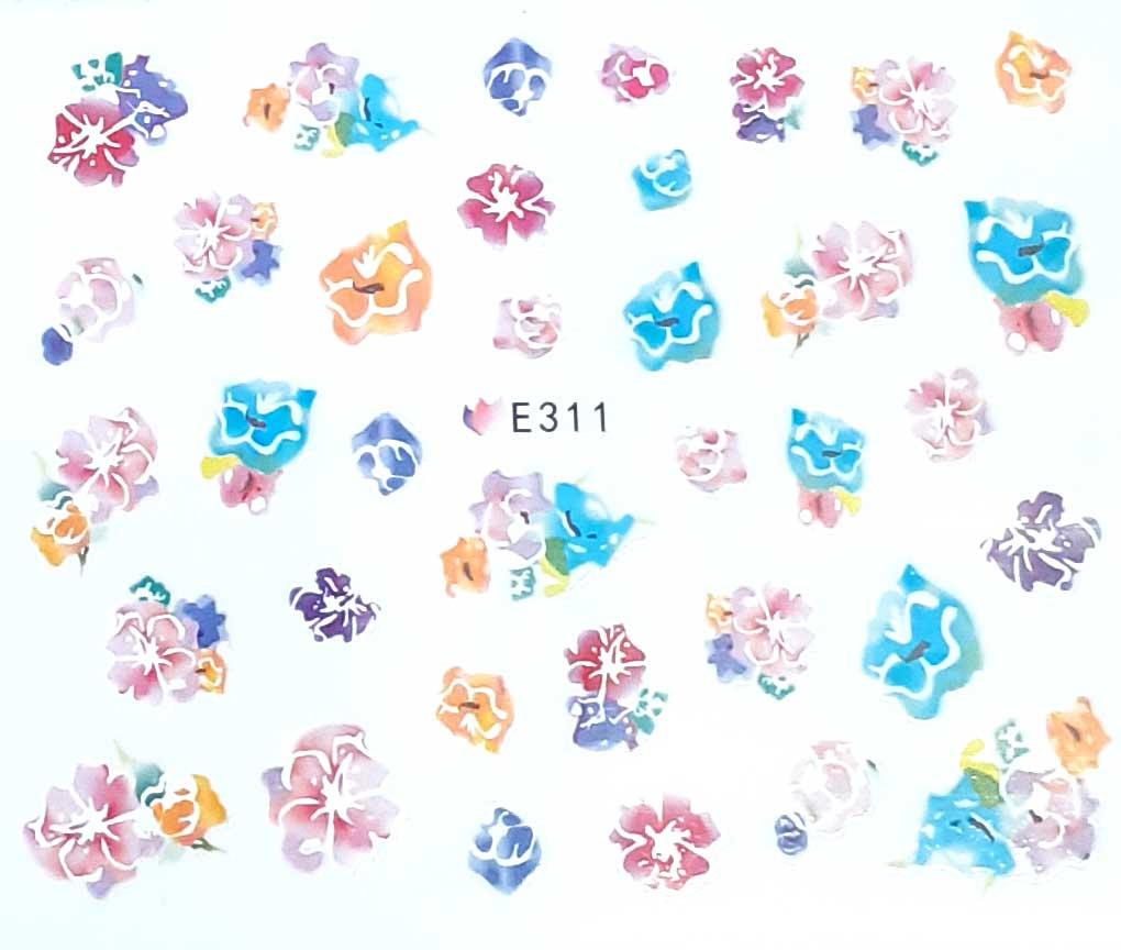 Nagelsticker Blumen pastell E-311 Nagelaufkleber, Nail Tattoo, Nail Sticker