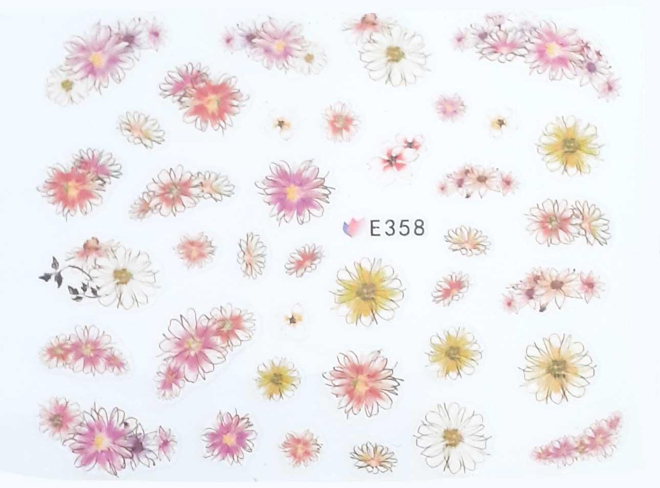 Nagelsticker Blumen pastell E-358