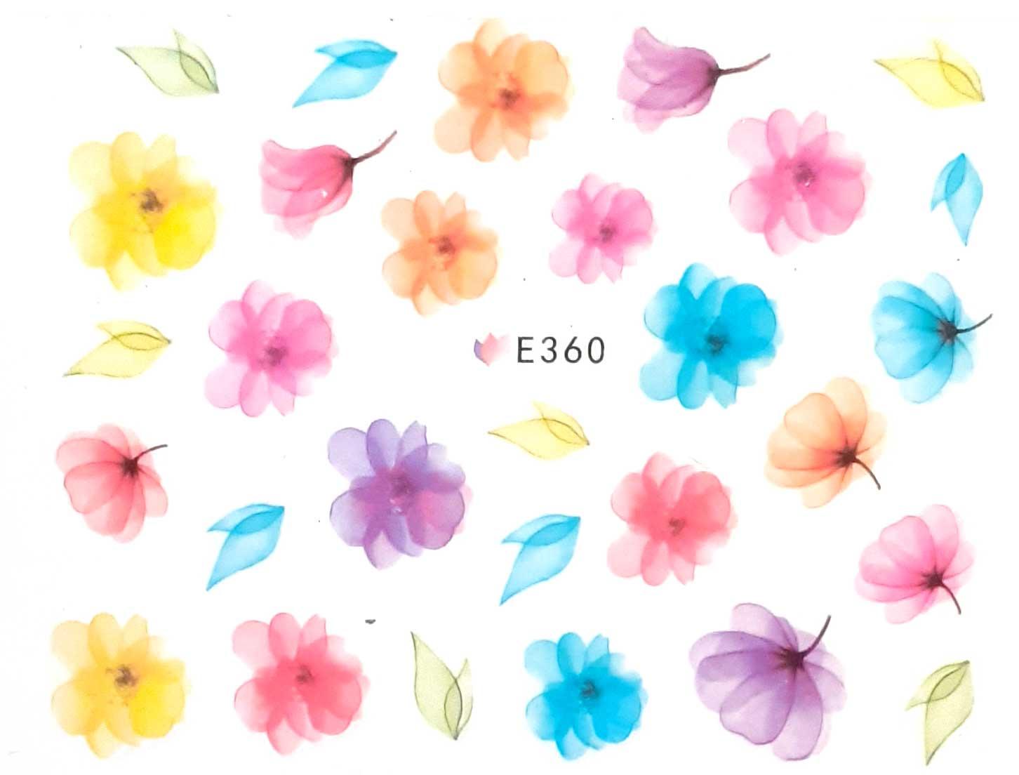 Nagelsticker Blumen pastell E-360 Nagelaufkleber, Nail Tattoo, Nail Sticker