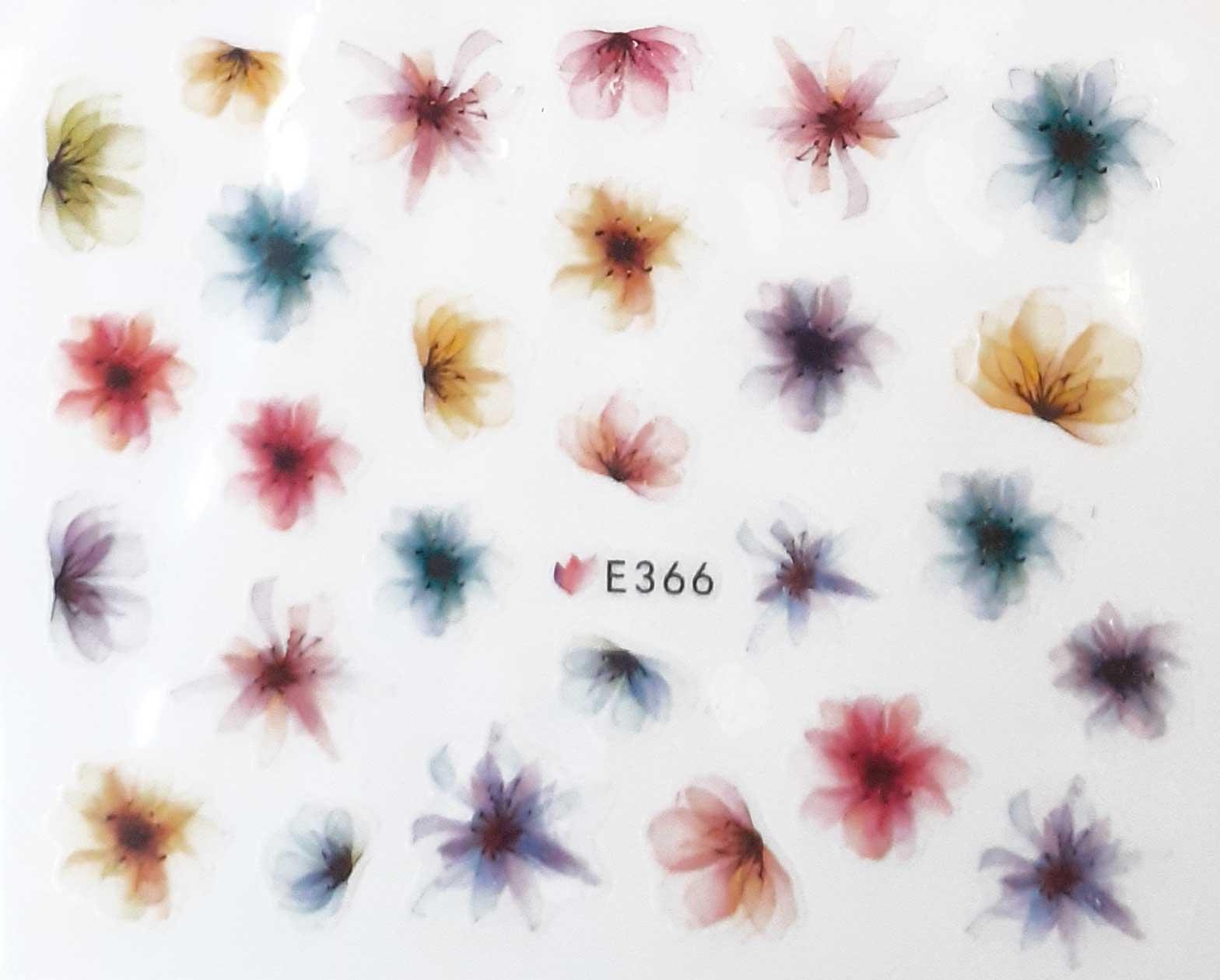 Nagelsticker Blumen pastell E-366 Nagelaufkleber, Nail Tattoo, Nail Sticker