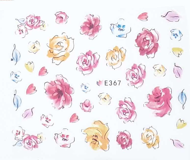 Nagelsticker Blumen pastell E-367