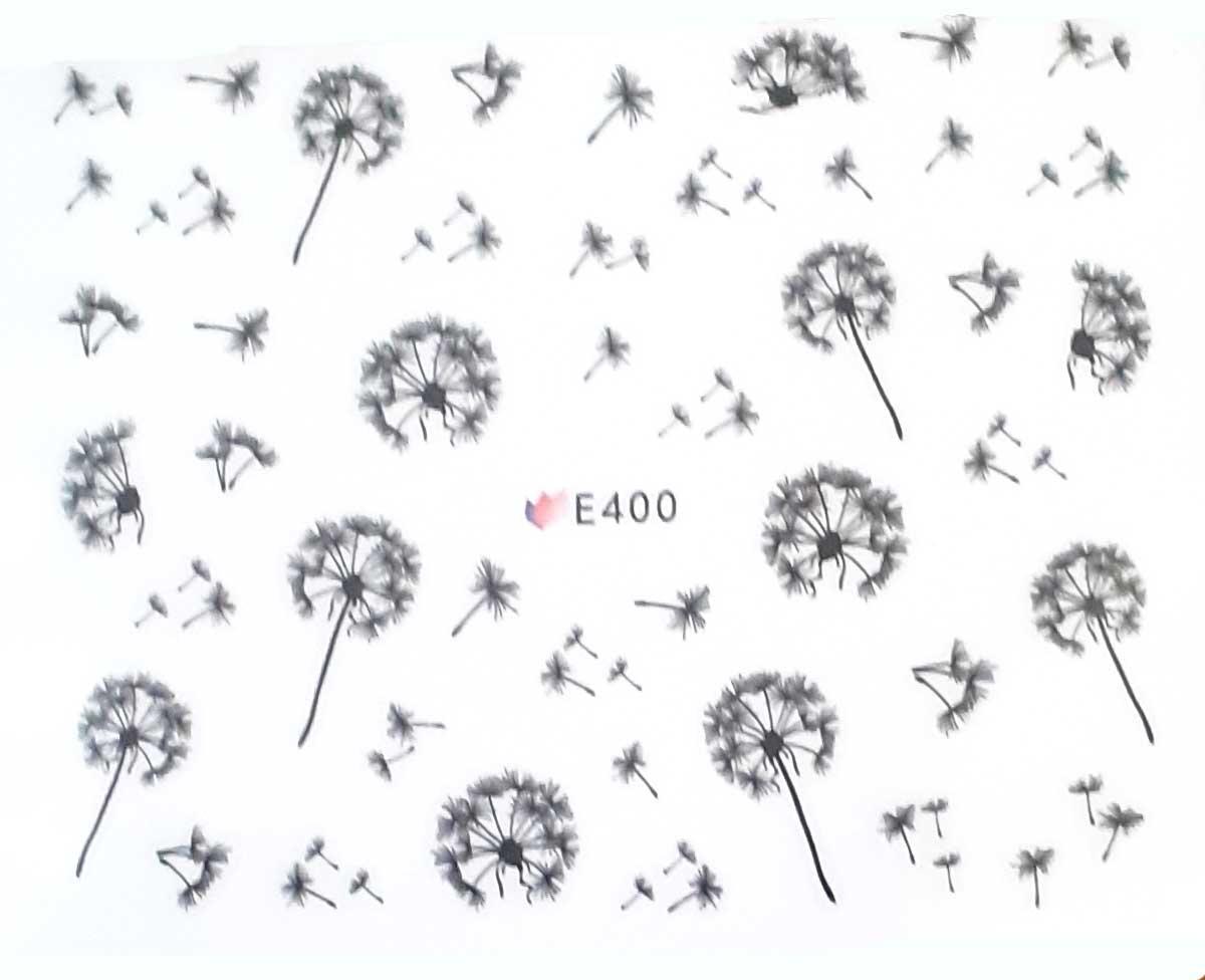 Nagelsticker Pusteblumen schwarz E-400 Nagelaufkleber, Nail Tattoo, Nail Sticker