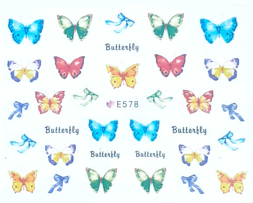 Nagelsticker Schmetterlinge farbig E-578 Nagelaufkleber, Nail Tattoo, Nail Sticker