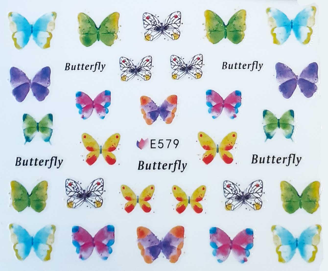 Nagelsticker Schmetterlinge farbig E-579 Nagelaufkleber, Nail Tattoo, Nail Sticker