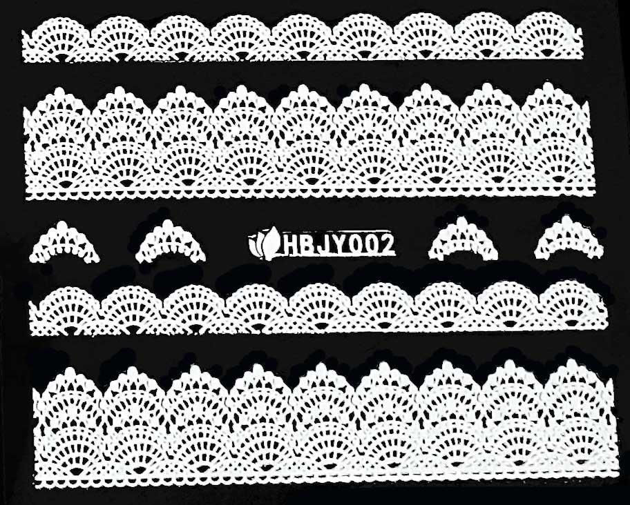 Nagelsticker Blumen weiss HBJY-002 Spitzen