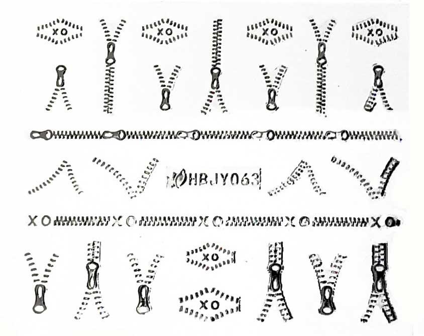 Sticker silber Reisverschlüsse HBJY-063