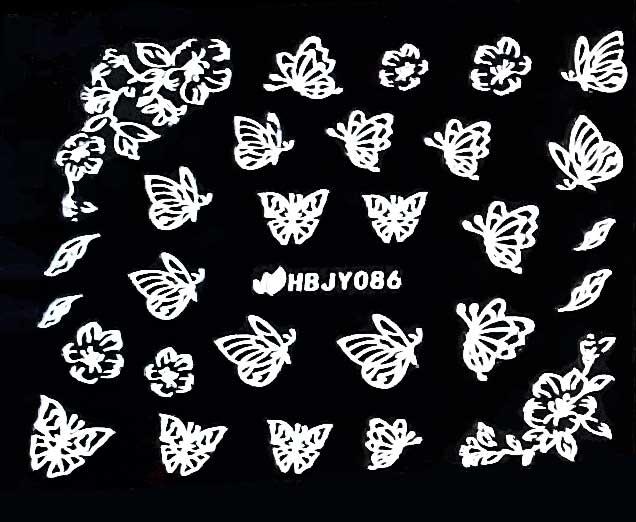 Sticker Schmetterlinge weiss HBJY-086