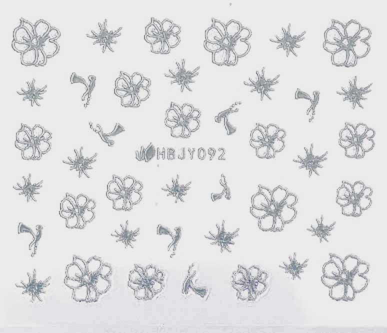 Sticker silber Blumen HBJY-092