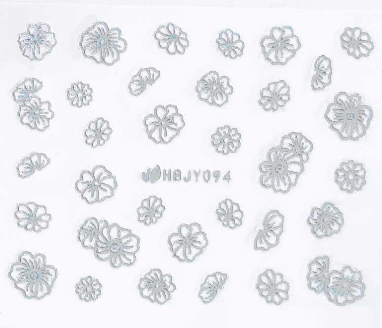 Sticker silber Blumen HBJY-094