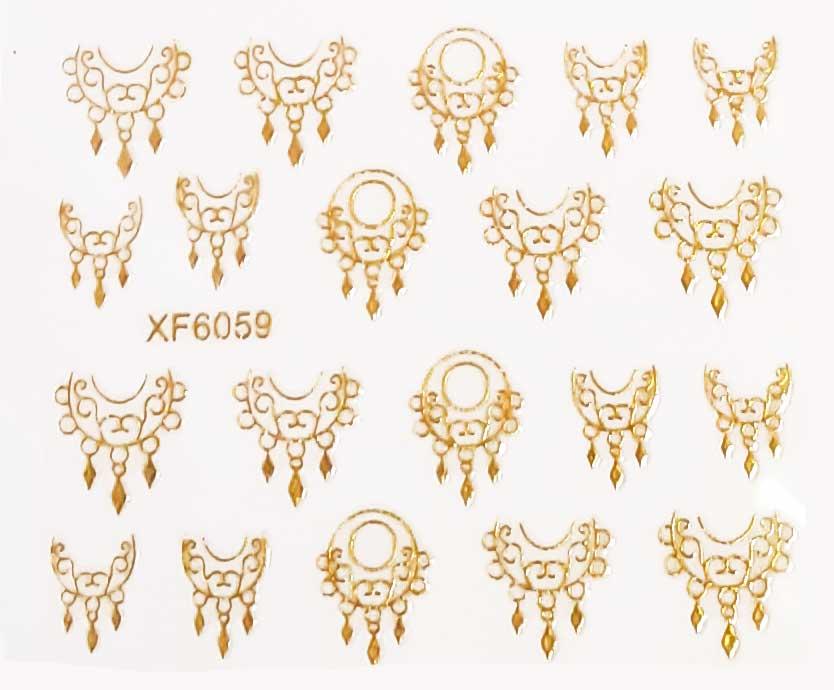 Nagelsticker Mandalas gold XF-6059 Nagelaufkleber, Nail Tattoo, Nail Sticker