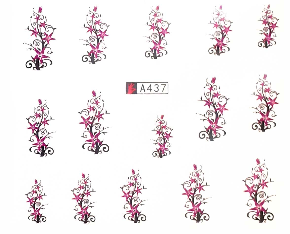Wasserlösliche Nailsticker Blumen A-437 Ranken Nail Tattoo, Whatertattoo