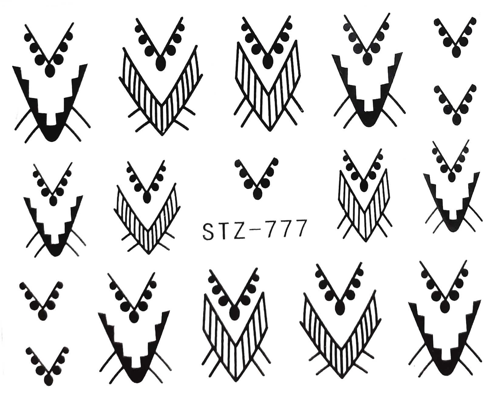Wasserlösliche Nailsticker Mandalas STZ-777 schwarz Nail Tattoo, Whatertattoo
