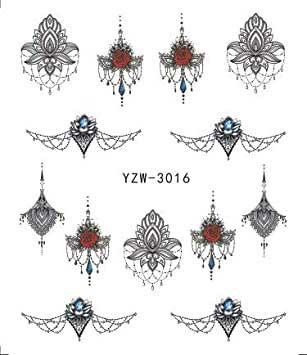 Wasserlösliche Nailsticker Mandalas YZW-3016 schwarz Nail Tattoo, Whatertattoo