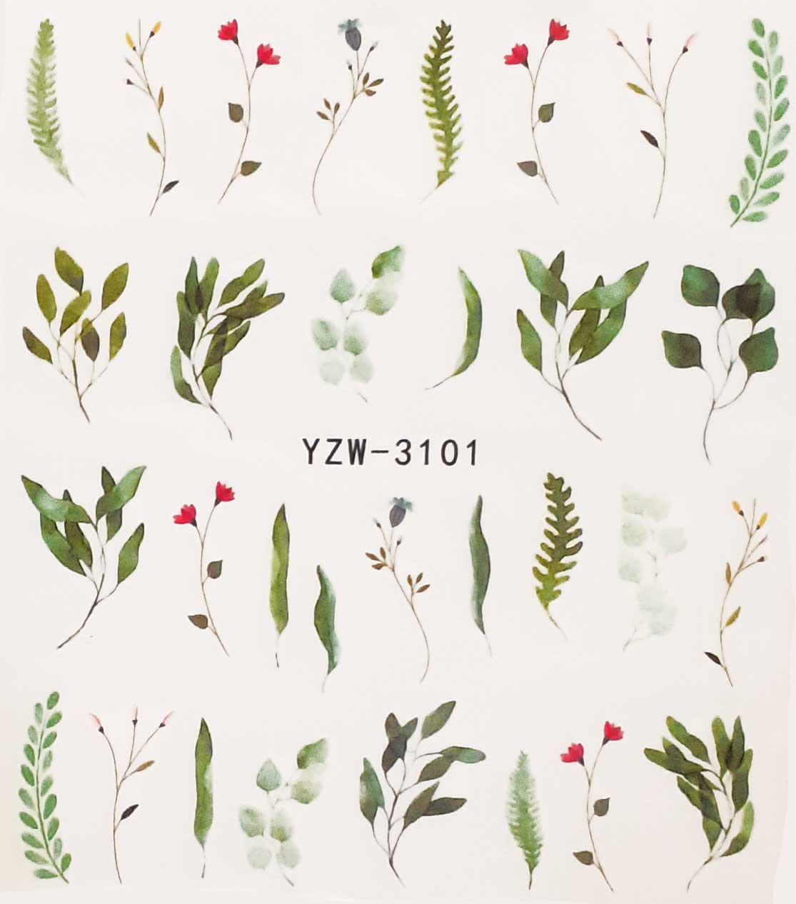 Wasserlösliche Nailsticker Gräser YZW-3101 Blätter farbig Nail Tattoo, Whatertattoo